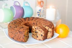 Christmas cake with dried fruits and nuts stock photography