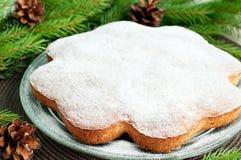 Christmas cake and fir Royalty Free Stock Image