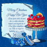 Christmas cake, gift boxes and card for text Stock Image