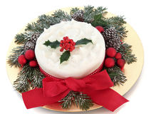 Christmas Cake with Holly Stock Photos