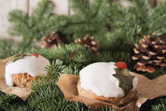 Christmas cake with homemade caramel cane. On the background of trees royalty free stock photos
