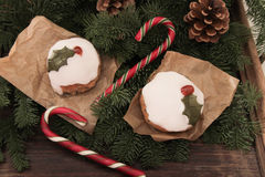 Christmas cake with homemade caramel cane. On the background of trees royalty free stock photo