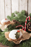 Christmas cake with homemade caramel cane. On the background of trees royalty free stock images