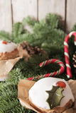 Christmas cake with homemade caramel cane. On the background of trees stock images