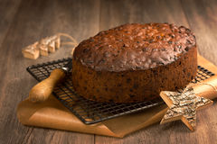 Christmas Cake With Knife Stock Photography