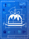 Christmas cake like blueprint drawing Royalty Free Stock Photo