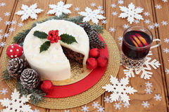 Christmas Cake and Mulled Wine Royalty Free Stock Photos