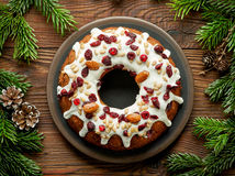 Christmas Cake On Wooden Table Royalty Free Stock Photo