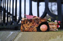 Christmas cake outdoors nuts fruit Stock Photo