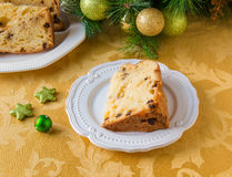 Christmas cake panettone and Christmas decorations Stock Photo