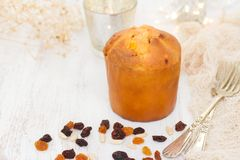 Christmas cake panettone on wooden background royalty free stock photo