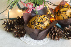Christmas cake in paper packing, Christmas lights and pine bouquet on a linen background. Christmas cake with chocolate chips, Christmas lights and pine bouquet Stock Image