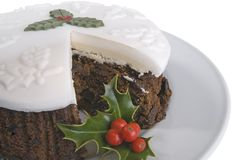 Christmas cake on plate Royalty Free Stock Photography