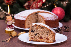 Christmas cake. On the plate Royalty Free Stock Photography