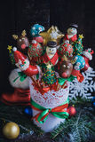 Christmas cake pops in the basket Royalty Free Stock Photography