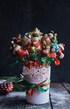Christmas cake pops bouquet Royalty Free Stock Image