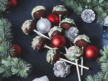 Christmas cake pops tree. Angle view royalty free stock photos