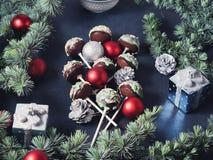 Christmas cake pops tree on black. Angle view Royalty Free Stock Photos