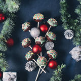 Christmas cake pops tree on black Stock Image