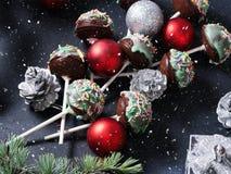Christmas cake pops tree on black Stock Photography