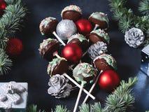 Christmas cake pops tree on black Royalty Free Stock Photography