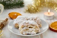 Christmas cake with powdered sugar Royalty Free Stock Photo