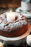 Christmas Cake with Powered Sugar on Vintage Plate Royalty Free Stock Image