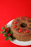 Christmas Cake on Red Stock Photo