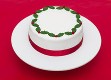 Christmas Cake on a red background Royalty Free Stock Photography