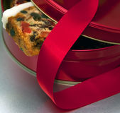 Christmas cake and red ribbon Royalty Free Stock Images