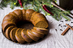 Christmas cake from rye flour with honey and spices. Cake from rye flour with honey and spices, surrounded by fir branches with chilli Stock Photography