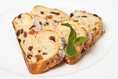 Christmas Cake Slices With Dried Fruits stock image