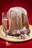 Christmas cake with sparkling wine royalty free stock photo