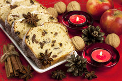 Christmas cake with spices and dried fruits Royalty Free Stock Images