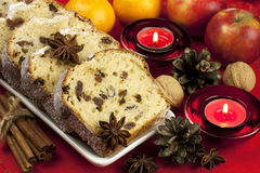 Christmas cake with spices and dried fruits Stock Images