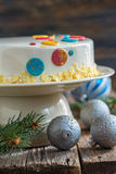 Christmas cake with a spicy mousse. Stock Photo