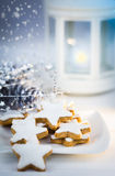 Christmas cake,star form with white glaze Royalty Free Stock Images