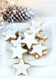 Christmas cake,star form with white glaze Royalty Free Stock Photography