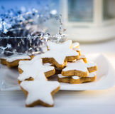 Christmas cake,star form with white glaze Royalty Free Stock Photo