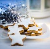 Christmas cake,star form with white glaze Royalty Free Stock Photo