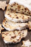 Christmas cake. Christmas stollen and gingerbread cookies stock images