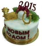 Christmas cake with a symbol of a new 2015 Stock Photography