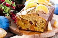 Christmas cake with tangerine and dried fruits Stock Images