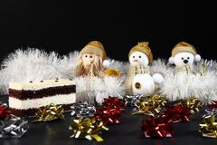 Christmas cake with toys decoration. New Year holiday concept.  Stock Photography