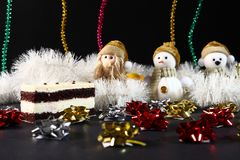 Christmas cake with toys decoration. New Year holiday concept.  Royalty Free Stock Photos