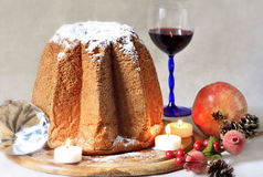 Christmas cake with wine and decorations Stock Images