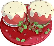 Christmas cakes. On red plate Royalty Free Stock Photography