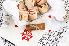 Christmas cakes. In box with cinnamon and holiday decoration royalty free stock images