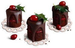 Christmas cakes. Christmas holiday cakes watercolor painting royalty free illustration
