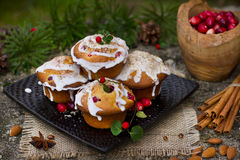 Christmas cakes with cranberries and almonds Stock Images